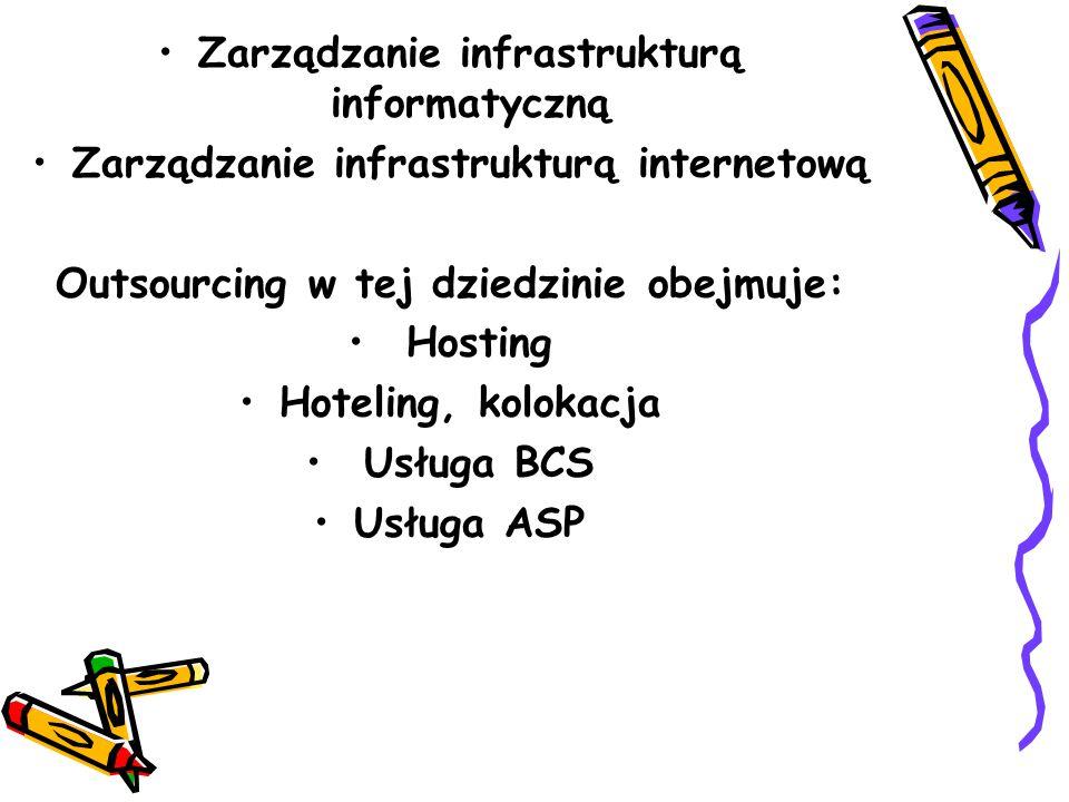 Zarządzanie infrastrukturą informatyczną Zarządzanie infrastrukturą internetową Outsourcing w tej dziedzinie obejmuje: Hosting Hoteling, kolokacja Usługa BCS Usługa ASP