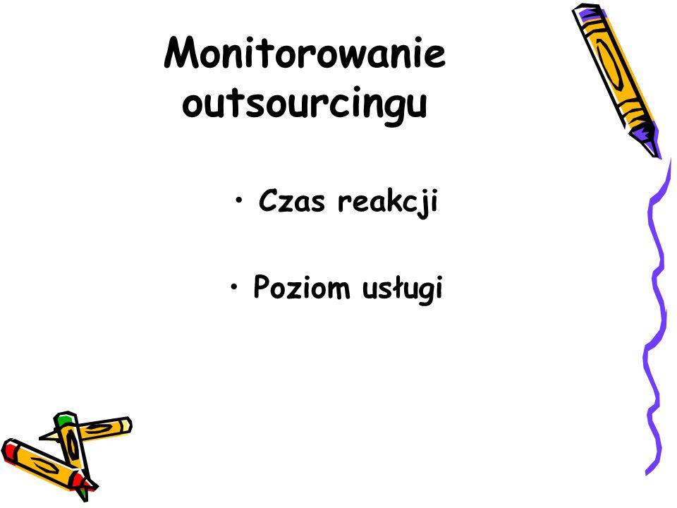 Monitorowanie outsourcingu Czas reakcji Poziom usługi