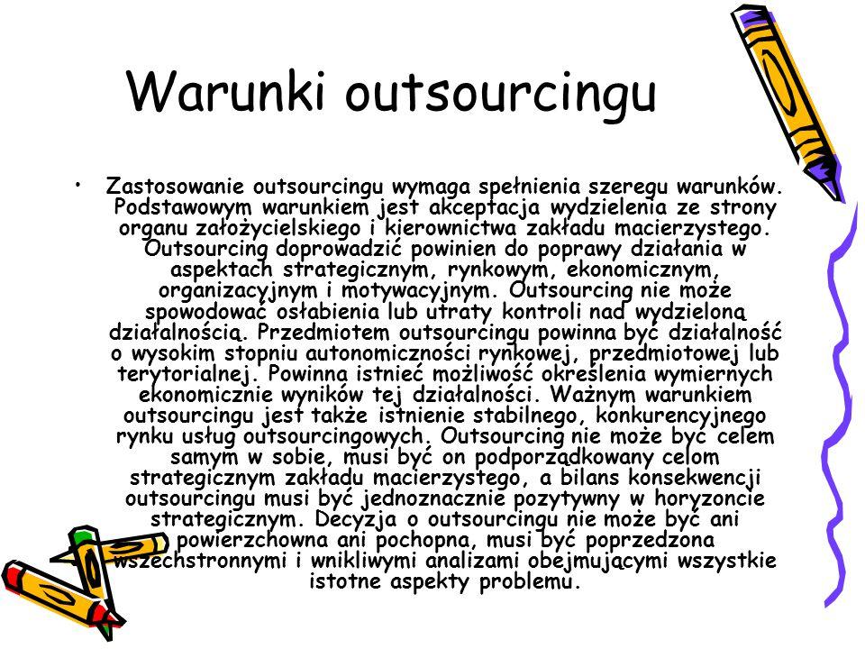 Outsourcing może mieć zastosowanie w następujących dziedzinach: usługi finansowo analityczne i księgowe (kadry i płace) usługi internetowe zarządzanie projektami w zakresie controllingu zarządzania jakością zarządzanie dokumentami i administracja