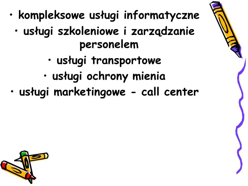 kompleksowe usługi informatyczne usługi szkoleniowe i zarządzanie personelem usługi transportowe usługi ochrony mienia usługi marketingowe - call center