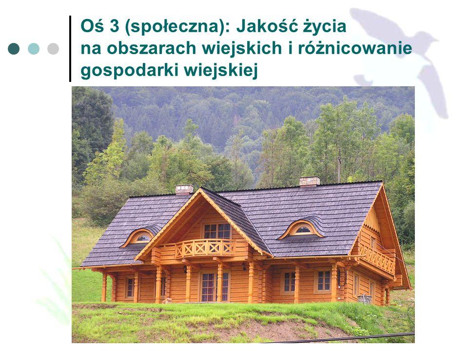 Oś 3 (społeczna): Jakość życia na obszarach wiejskich i różnicowanie gospodarki wiejskiej