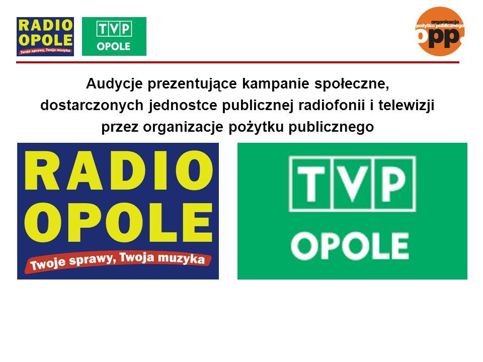 Audycje prezentujące kampanie społeczne, dostarczonych jednostce publicznej radiofonii i telewizji przez organizacje pożytku publicznego