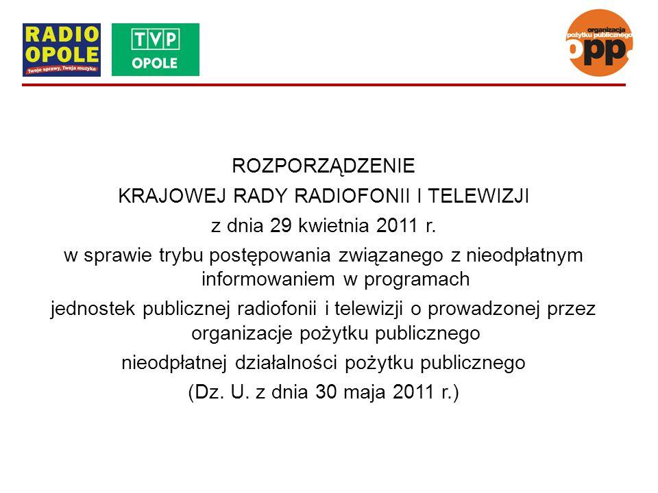 ROZPORZĄDZENIE KRAJOWEJ RADY RADIOFONII I TELEWIZJI z dnia 29 kwietnia 2011 r. w sprawie trybu postępowania związanego z nieodpłatnym informowaniem w