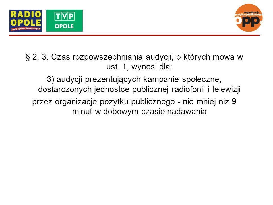 § 2. 3. Czas rozpowszechniania audycji, o których mowa w ust. 1, wynosi dla: 3) audycji prezentujących kampanie społeczne, dostarczonych jednostce pub