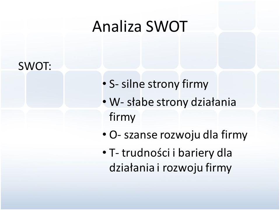 Analiza SWOT SWOT: S- silne strony firmy W- słabe strony działania firmy O- szanse rozwoju dla firmy T- trudności i bariery dla działania i rozwoju fi