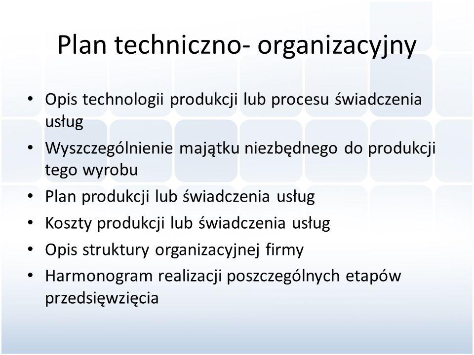 Plan techniczno- organizacyjny Opis technologii produkcji lub procesu świadczenia usług Wyszczególnienie majątku niezbędnego do produkcji tego wyrobu