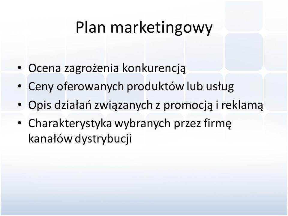 Plan marketingowy Ocena zagrożenia konkurencją Ceny oferowanych produktów lub usług Opis działań związanych z promocją i reklamą Charakterystyka wybra