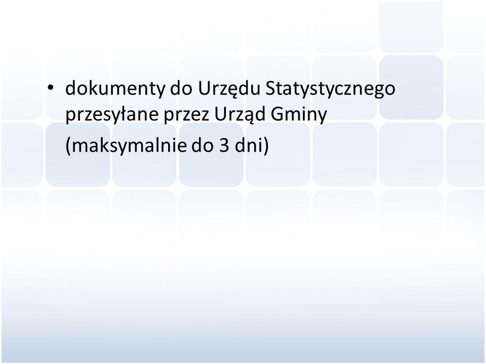 dokumenty do Urzędu Statystycznego przesyłane przez Urząd Gminy (maksymalnie do 3 dni)