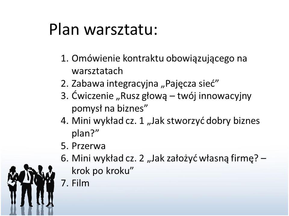 """Plan warsztatu: 1.Omówienie kontraktu obowiązującego na warsztatach 2.Zabawa integracyjna """"Pajęcza sieć"""" 3.Ćwiczenie """"Rusz głową – twój innowacyjny po"""