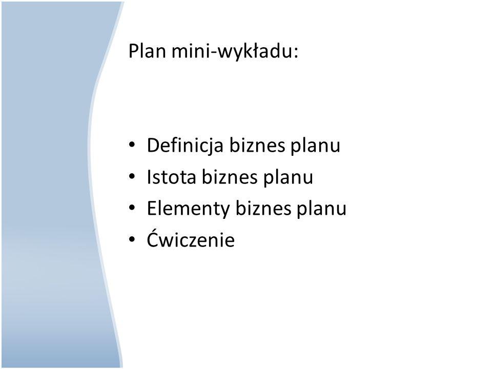 Biznes plan jest to zarys zamierzeń, czyli plan na bliższą i dalszą przyszłość firmy, z ustaleniem środków i sposobów działania dla osiągnięcia założonych celów.