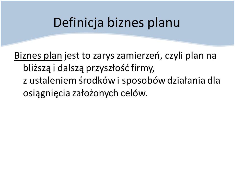 Biznesplan stanowi: Wstępną weryfikację pomysłu Podstawowe narzędzie pozyskiwania środków na finansowanie przedsięwzięcia Pomoc przy kontrolowaniu i sterowaniu rozwojem firmy Obiektywną informację na temat rzeczywistej pozycji firmy na rynku Istota biznes planu