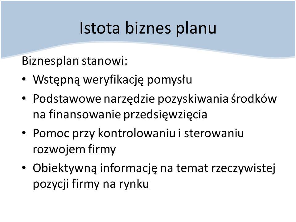 Elementy biznes planu Opis przedsięwzięcia Dane o firmie Analiza SWOT Plan techniczno-organizacyjny Plan marketingowy Plan finansowy Analiza wskaźnikowa Podsumowanie Załączniki