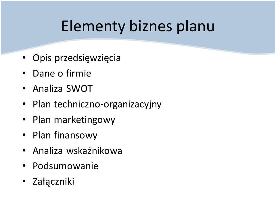 Elementy biznes planu Opis przedsięwzięcia Dane o firmie Analiza SWOT Plan techniczno-organizacyjny Plan marketingowy Plan finansowy Analiza wskaźniko