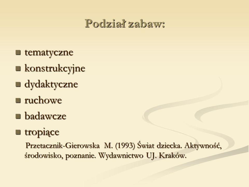 Podział zabaw: tematyczne tematyczne konstrukcyjne konstrukcyjne dydaktyczne dydaktyczne ruchowe ruchowe badawcze badawcze tropiące tropiące Przetacznik-Gierowska M.