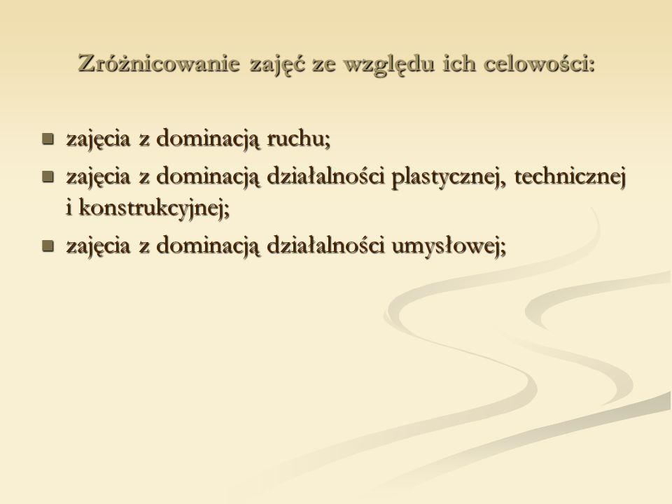Zróżnicowanie zajęć ze względu ich celowości: zajęcia z dominacją ruchu; zajęcia z dominacją ruchu; zajęcia z dominacją działalności plastycznej, technicznej i konstrukcyjnej; zajęcia z dominacją działalności plastycznej, technicznej i konstrukcyjnej; zajęcia z dominacją działalności umysłowej; zajęcia z dominacją działalności umysłowej;