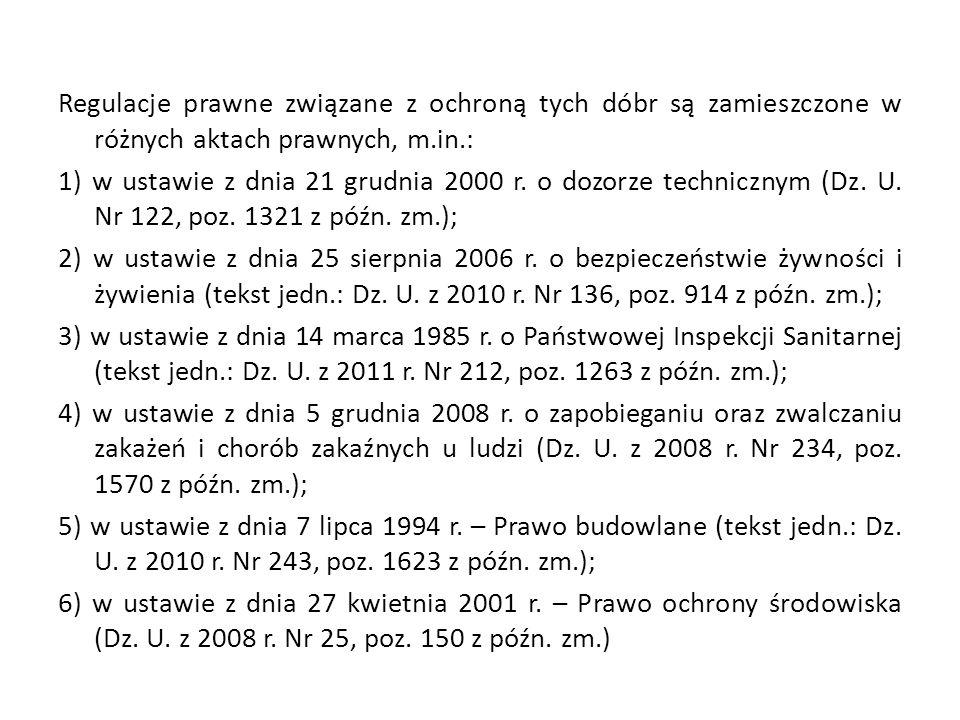 Regulacje prawne związane z ochroną tych dóbr są zamieszczone w różnych aktach prawnych, m.in.: 1) w ustawie z dnia 21 grudnia 2000 r.