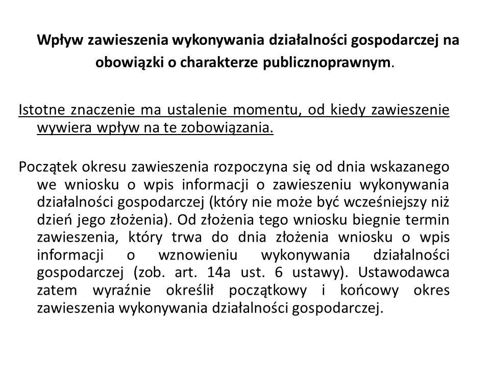 Wpływ zawieszenia wykonywania działalności gospodarczej na obowiązki o charakterze publicznoprawnym.