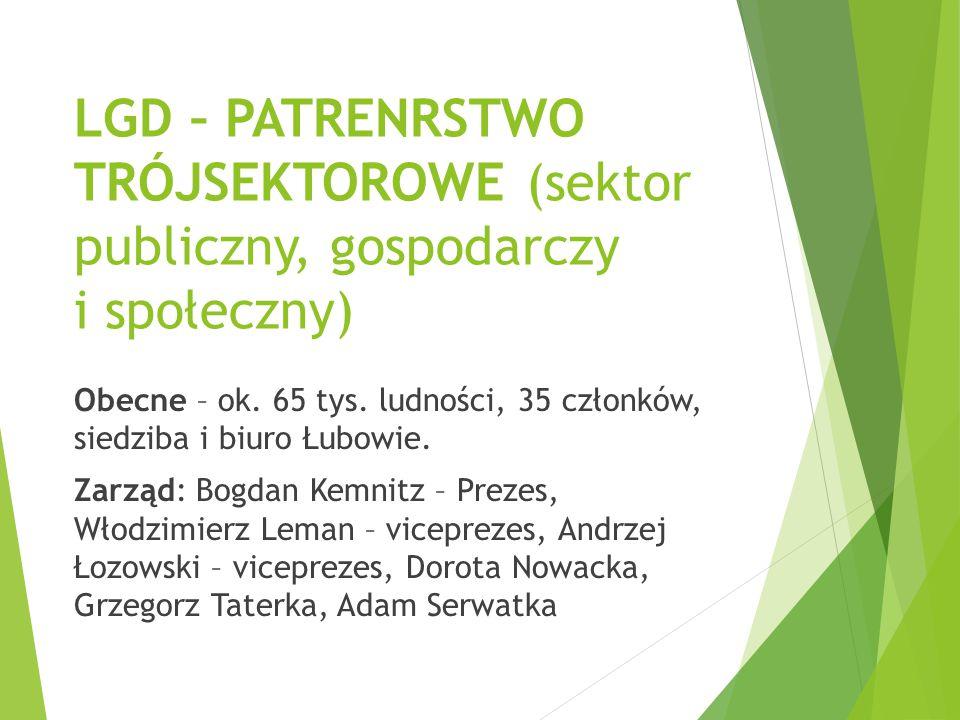 LGD – PATRENRSTWO TRÓJSEKTOROWE (sektor publiczny, gospodarczy i społeczny) Obecne – ok. 65 tys. ludności, 35 członków, siedziba i biuro Łubowie. Zarz