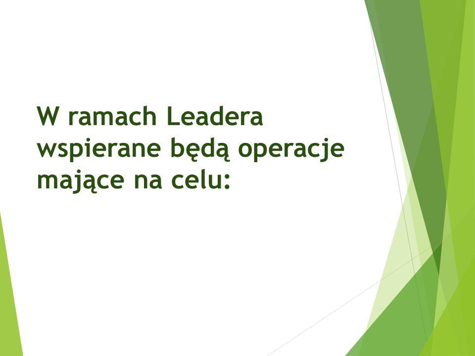 W ramach Leadera wspierane będą operacje mające na celu: