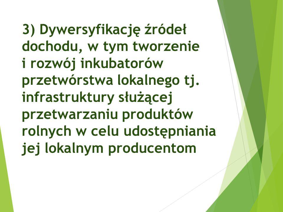3) Dywersyfikację źródeł dochodu, w tym tworzenie i rozwój inkubatorów przetwórstwa lokalnego tj. infrastruktury służącej przetwarzaniu produktów roln