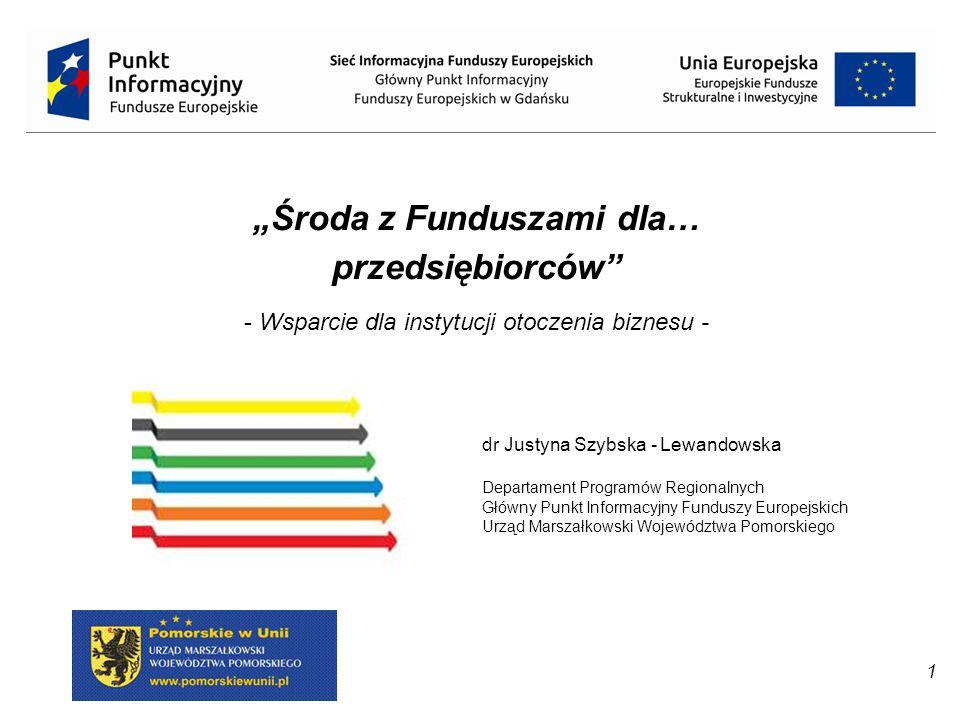 """1 dr Justyna Szybska - Lewandowska Departament Programów Regionalnych Główny Punkt Informacyjny Funduszy Europejskich Urząd Marszałkowski Województwa Pomorskiego """"Środa z Funduszami dla… przedsiębiorców - Wsparcie dla instytucji otoczenia biznesu -"""
