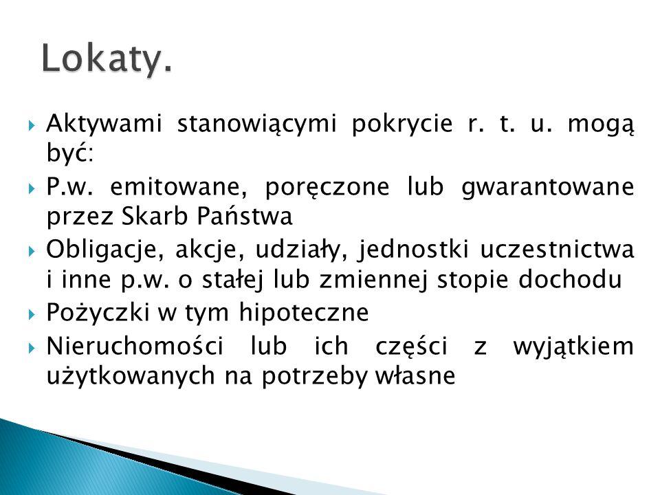  Aktywami stanowiącymi pokrycie r. t. u. mogą być:  P.w.