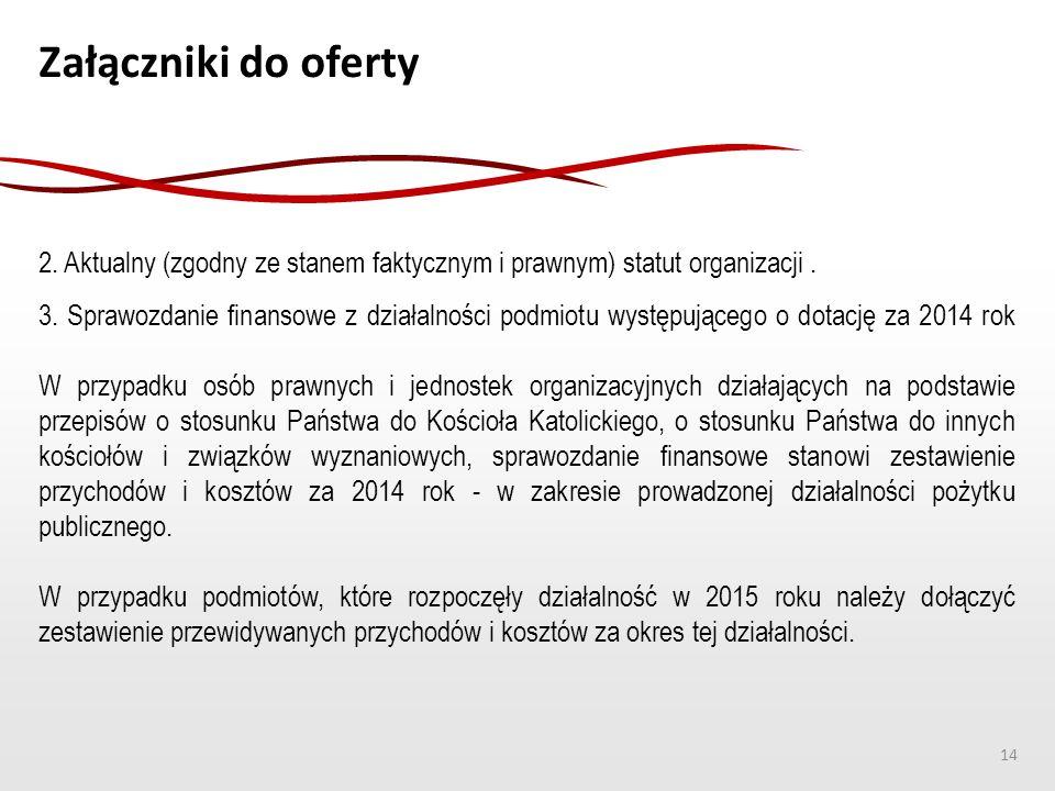 Załączniki do oferty 2. Aktualny (zgodny ze stanem faktycznym i prawnym) statut organizacji. 3. Sprawozdanie finansowe z działalności podmiotu występu
