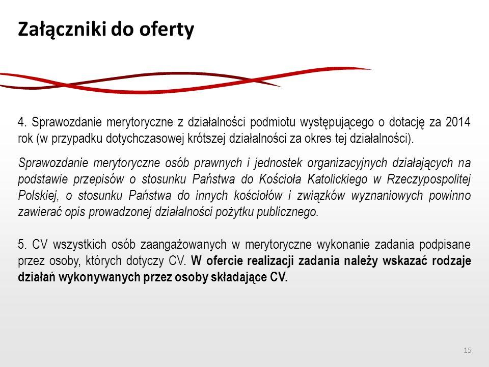 Załączniki do oferty 4. Sprawozdanie merytoryczne z działalności podmiotu występującego o dotację za 2014 rok (w przypadku dotychczasowej krótszej dzi