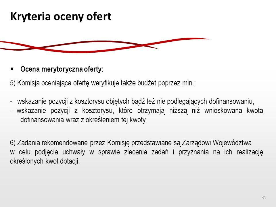 Kryteria oceny ofert  Ocena merytoryczna oferty: 5) Komisja oceniająca ofertę weryfikuje także budżet poprzez min.: - wskazanie pozycji z kosztorysu
