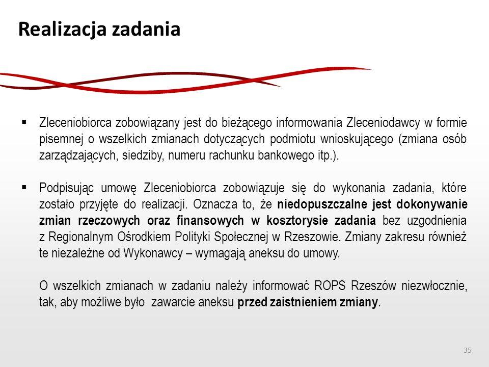 Realizacja zadania  Zleceniobiorca zobowiązany jest do bieżącego informowania Zleceniodawcy w formie pisemnej o wszelkich zmianach dotyczących podmio
