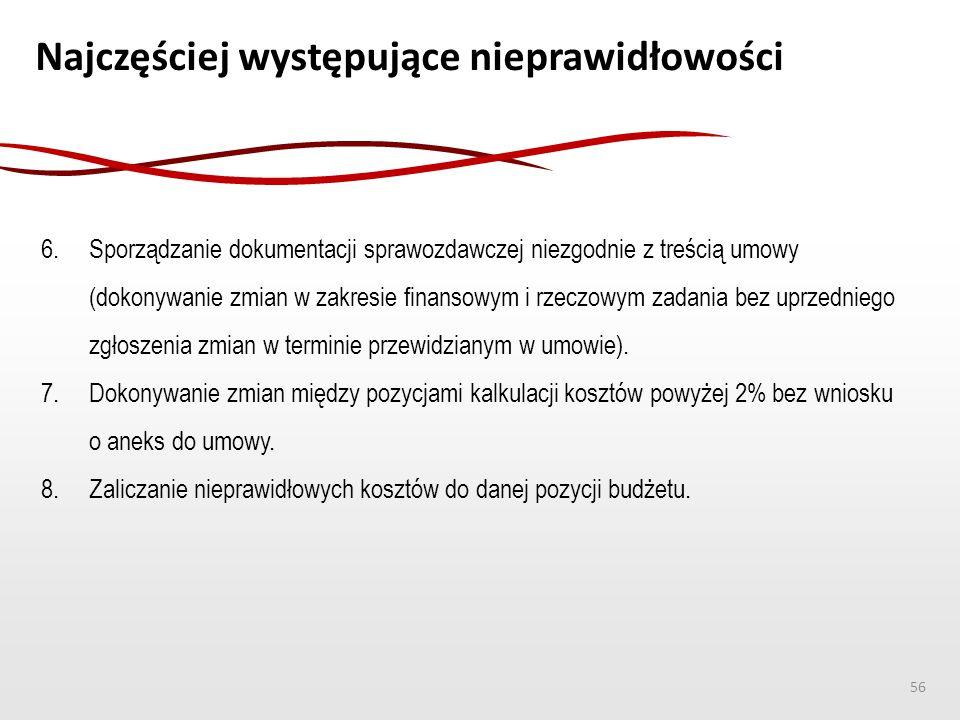 Najczęściej występujące nieprawidłowości 6. Sporządzanie dokumentacji sprawozdawczej niezgodnie z treścią umowy (dokonywanie zmian w zakresie finansow