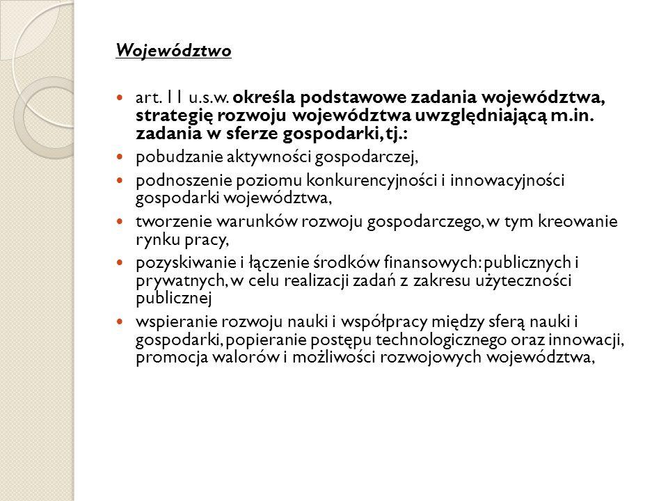 Województwo art. 11 u.s.w. określa podstawowe zadania województwa, strategię rozwoju województwa uwzględniającą m.in. zadania w sferze gospodarki, tj.