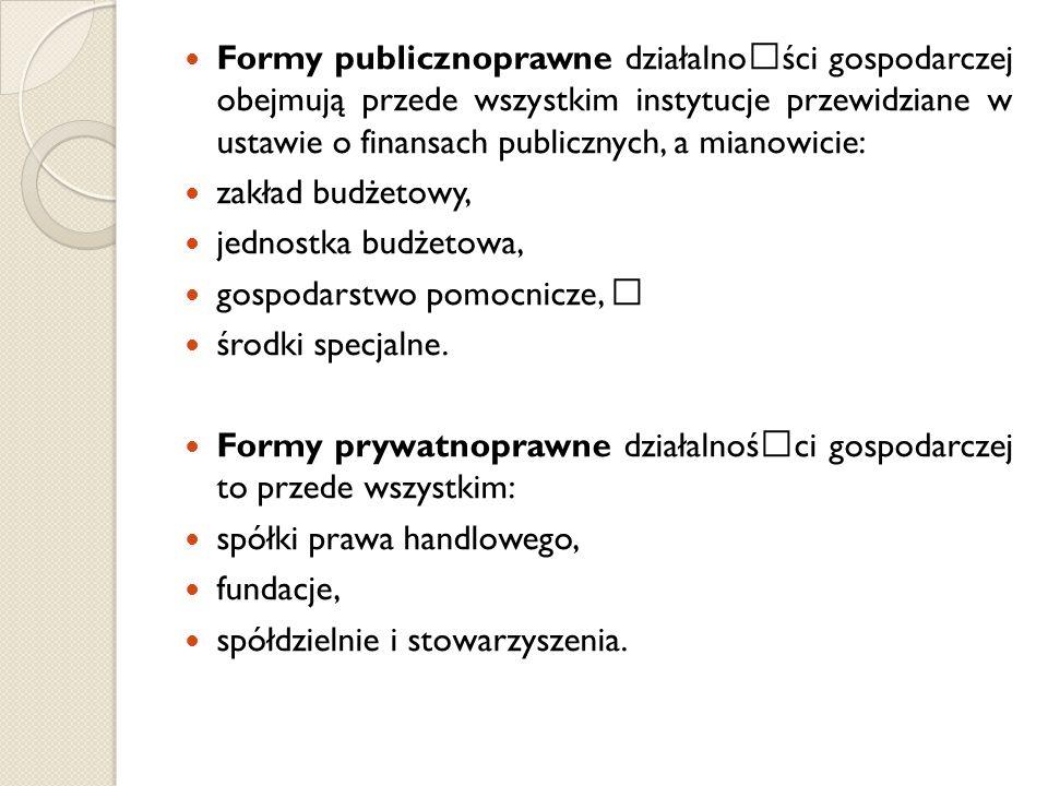 Formy publicznoprawne działalnoœści gospodarczej obejmują przede wszystkim instytucje przewidziane w ustawie o finansach publicznych, a mianowicie: za