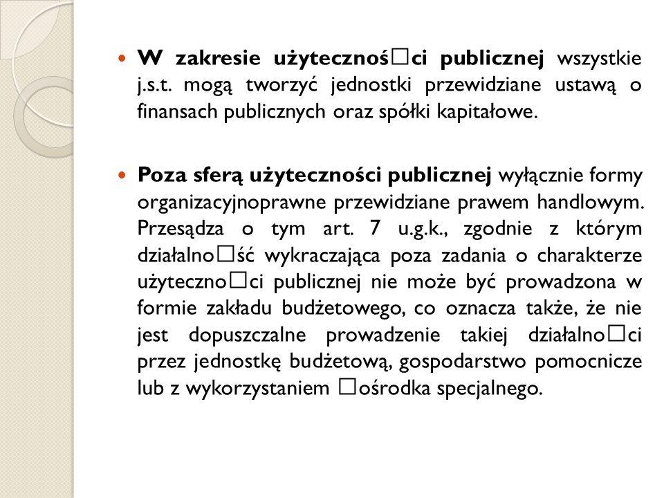 W zakresie użytecznośœci publicznej wszystkie j.s.t. mogą tworzyć jednostki przewidziane ustawą o finansach publicznych oraz spółki kapitałowe. Poza s