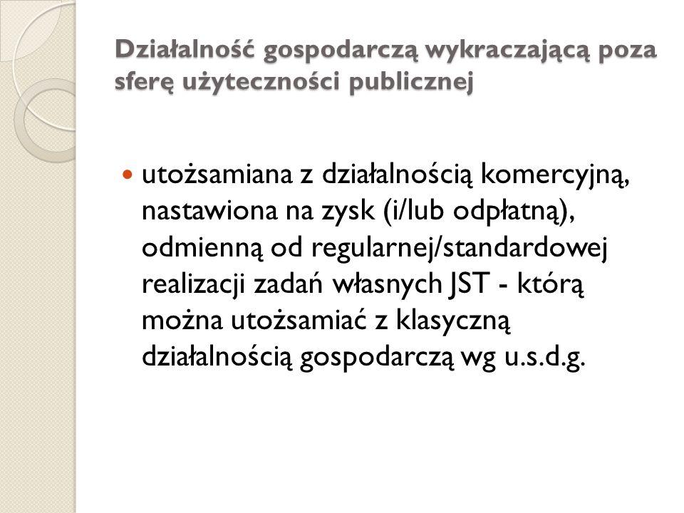 DZIAŁALNOŚĆ GOSPODARCZA JEDNOSTEK SAMORZĄDU TERYTORIALNEGO W ŚWIETLE USTAW SAMORZĄDOWYCH ustawy samorządowe dywersyfikują dwie płaszczyzny aktywności gmin, powiatów i województw: 1) realizowaną w sferze użyteczności publicznej oraz 2) wykraczającą poza sferę użyteczności publicznej.