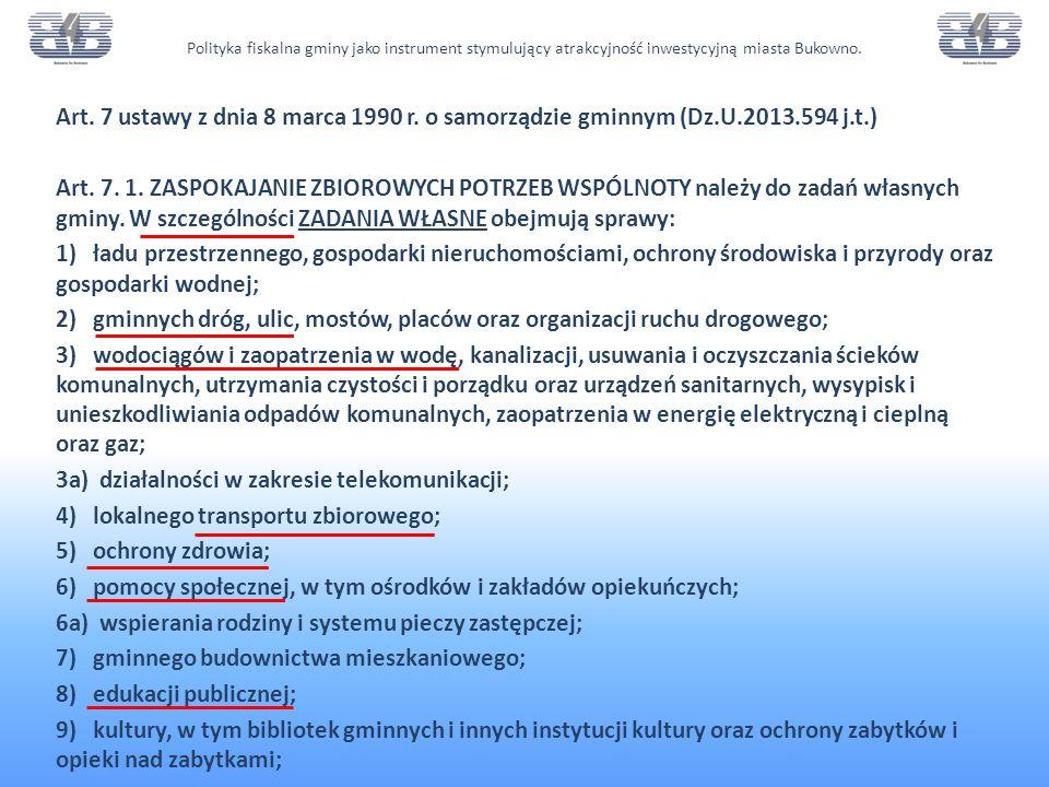 Art.7 ustawy z dnia 8 marca 1990 r. o samorządzie gminnym (Dz.U.2013.594 j.t.) Art.