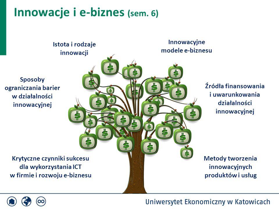 Innowacje i e-biznes (sem. 6) Źródła finansowania i uwarunkowania działalności innowacyjnej Innowacyjne modele e-biznesu Metody tworzenia innowacyjnyc