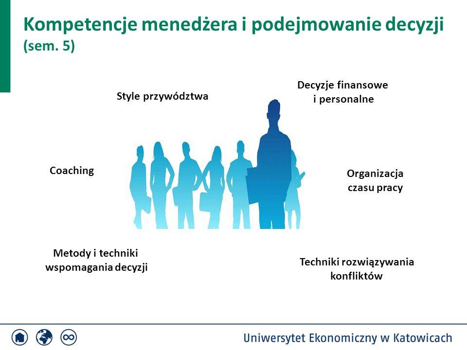 Kompetencje menedżera i podejmowanie decyzji (sem. 5) Style przywództwa Metody i techniki wspomagania decyzji Decyzje finansowe i personalne Organizac