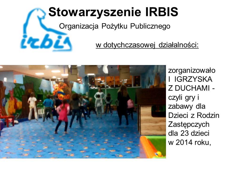 Stowarzyszenie IRBIS Organizacja Pożytku Publicznego w dotychczasowej działalności: zorganizowało I IGRZYSKA Z DUCHAMI - czyli gry i zabawy dla Dzieci z Rodzin Zastępczych dla 23 dzieci w 2014 roku,