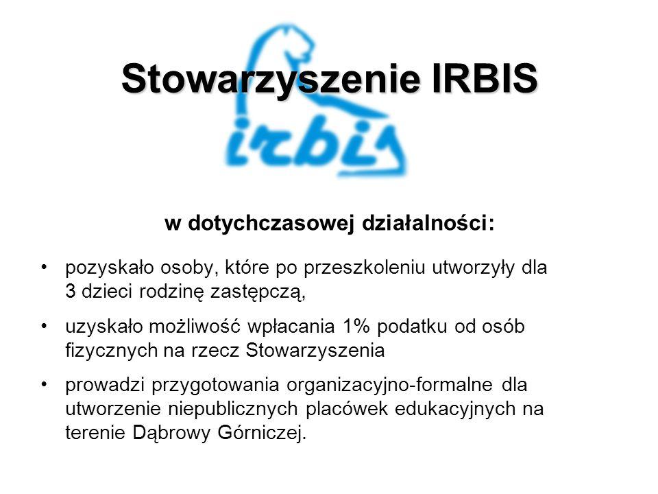 Stowarzyszenie IRBIS w dotychczasowej działalności: pozyskało osoby, które po przeszkoleniu utworzyły dla 3 dzieci rodzinę zastępczą, uzyskało możliwość wpłacania 1% podatku od osób fizycznych na rzecz Stowarzyszenia prowadzi przygotowania organizacyjno-formalne dla utworzenie niepublicznych placówek edukacyjnych na terenie Dąbrowy Górniczej.