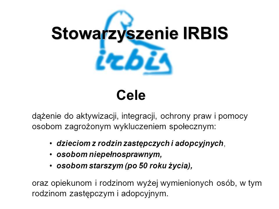 Stowarzyszenie IRBIS Cele dążenie do aktywizacji, integracji, ochrony praw i pomocy osobom zagrożonym wykluczeniem społecznym: dzieciom z rodzin zastępczych i adopcyjnych, osobom niepełnosprawnym, osobom starszym (po 50 roku życia), oraz opiekunom i rodzinom wyżej wymienionych osób, w tym rodzinom zastępczym i adopcyjnym.