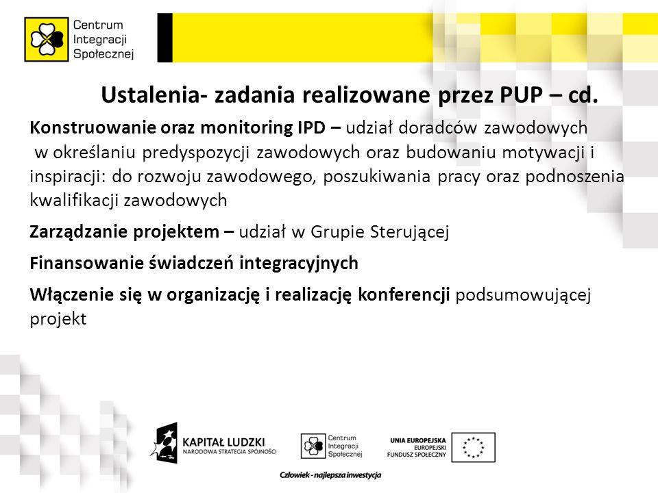Ustalenia- zadania realizowane przez PUP – cd.