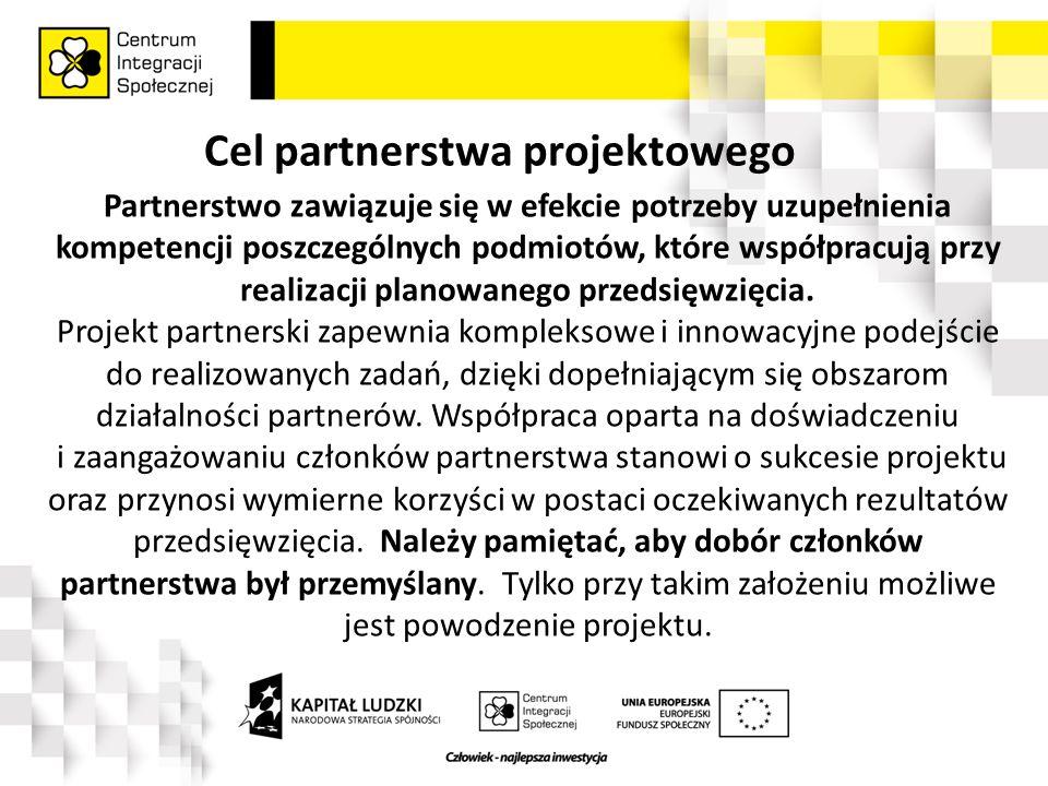 Cel partnerstwa projektowego Partnerstwo zawiązuje się w efekcie potrzeby uzupełnienia kompetencji poszczególnych podmiotów, które współpracują przy realizacji planowanego przedsięwzięcia.