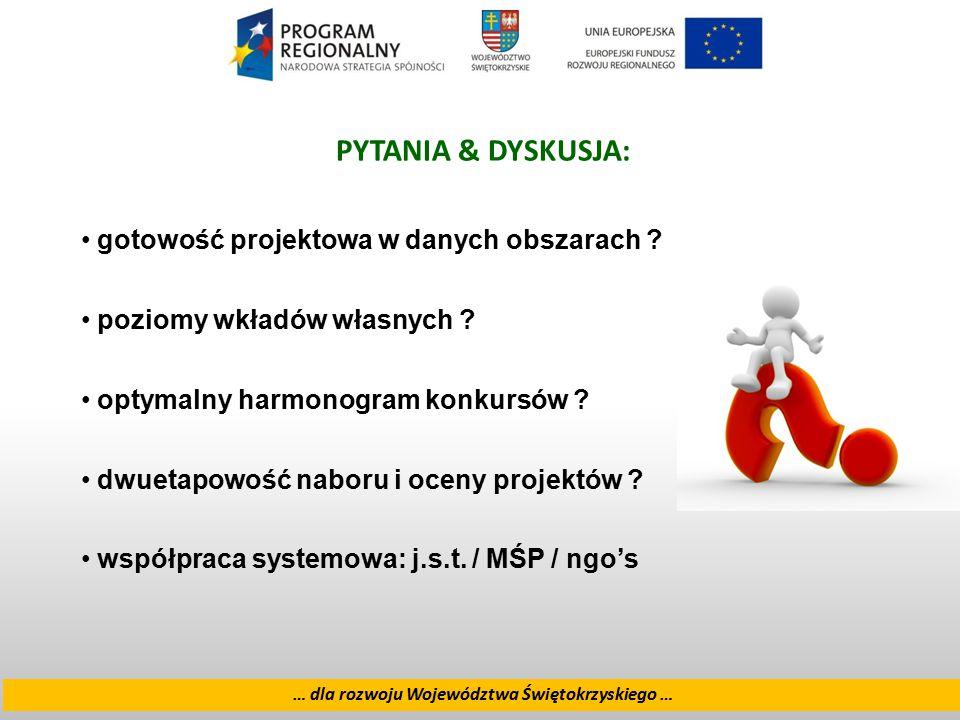 18 … dla rozwoju Województwa Świętokrzyskiego … PYTANIA & DYSKUSJA: gotowość projektowa w danych obszarach ? poziomy wkładów własnych ? optymalny harm