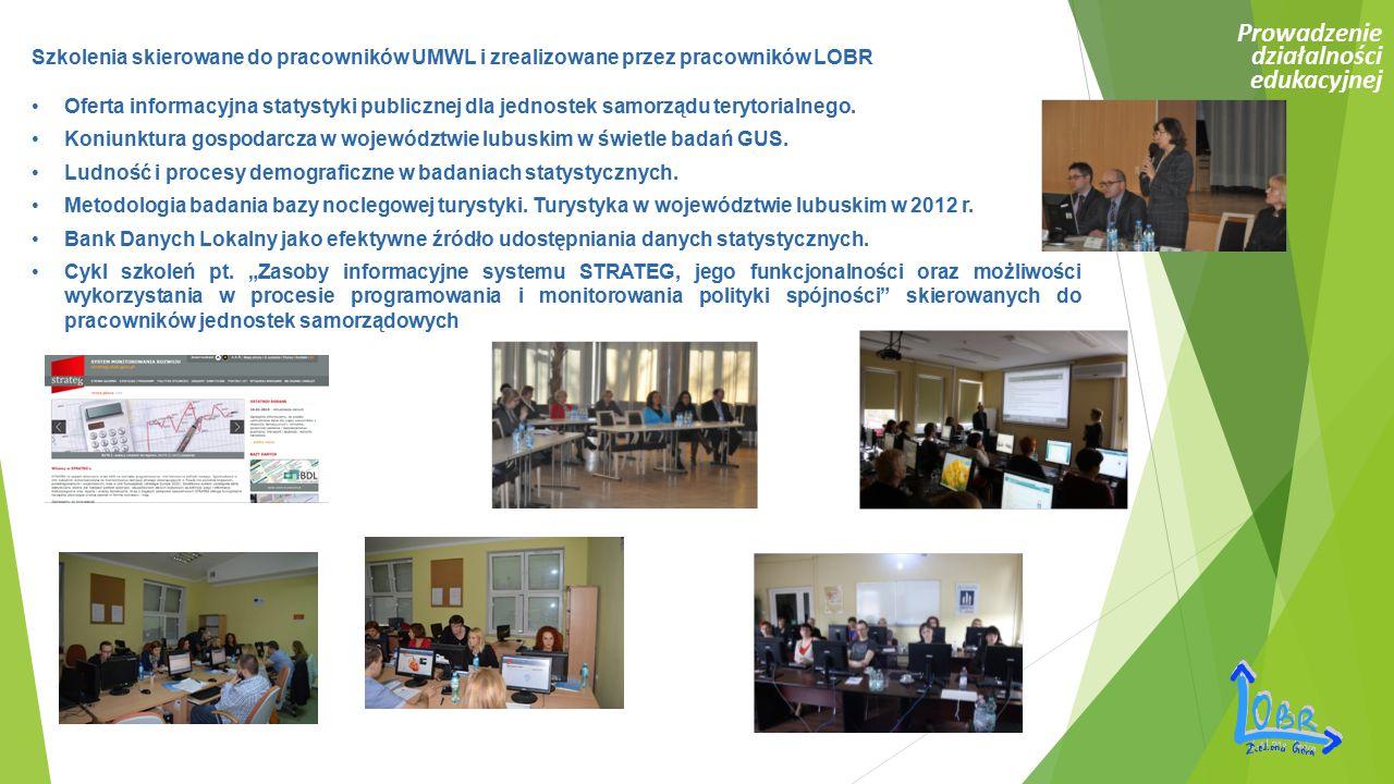 Prowadzenie działalności edukacyjnej Szkolenia skierowane do pracowników UMWL i zrealizowane przez pracowników LOBR Oferta informacyjna statystyki pub