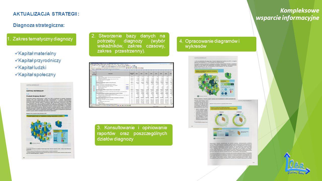 Kompleksowe wsparcie informacyjne AKTUALIZACJA STRATEGII : Diagnoza strategiczna: 1. Zakres tematyczny diagnozy 2. Stworzenie bazy danych na potrzeby