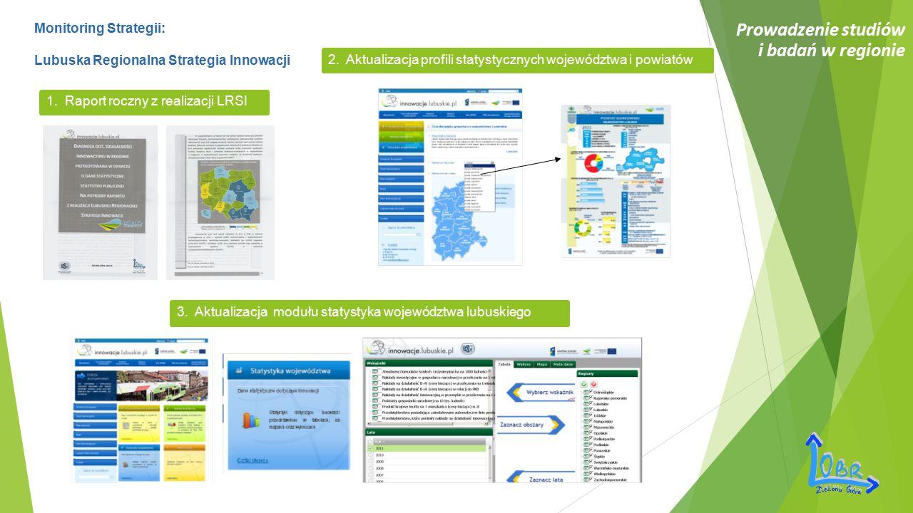 Prowadzenie studiów i badań w regionie Monitoring Strategii: Lubuska Regionalna Strategia Innowacji 1. Raport roczny z realizacji LRSI 2. Aktualizacja