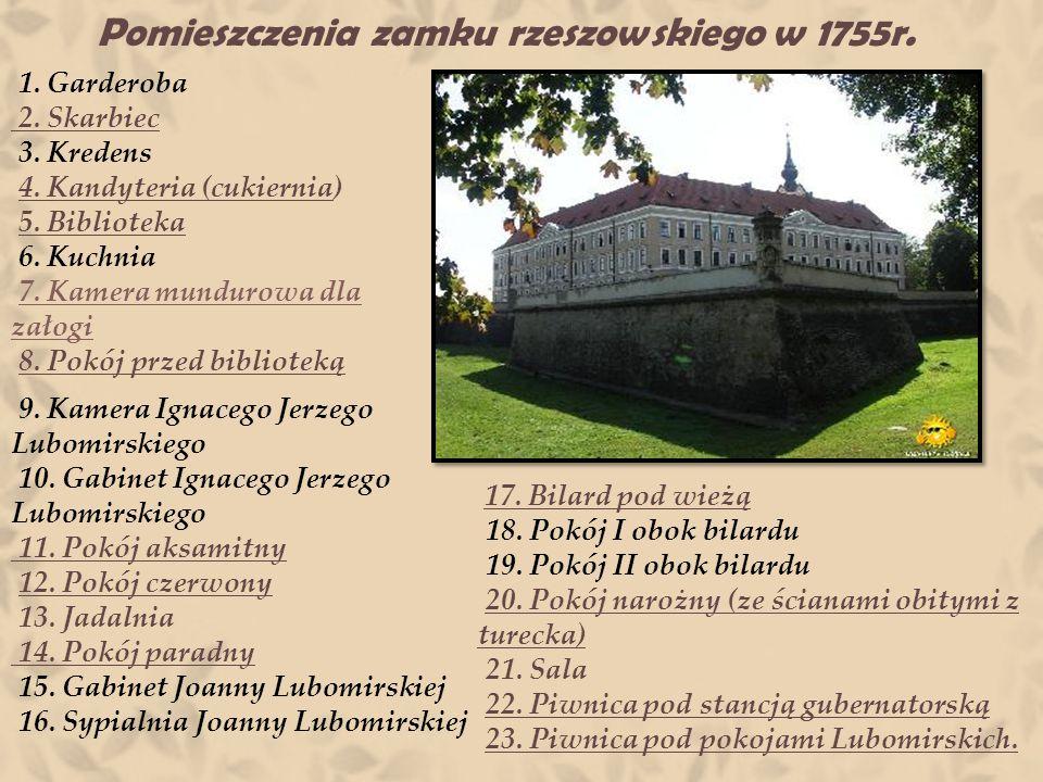 Pomieszczenia zamku rzeszowskiego w 1755r.1. Garderoba 2.
