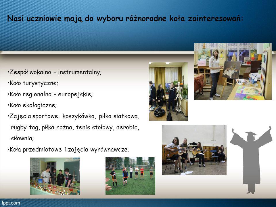 Nasi uczniowie mają do wyboru różnorodne koła zainteresowań: Zespół wokalno – instrumentalny; Koło turystyczne; Koło regionalno – europejskie; Koło ek