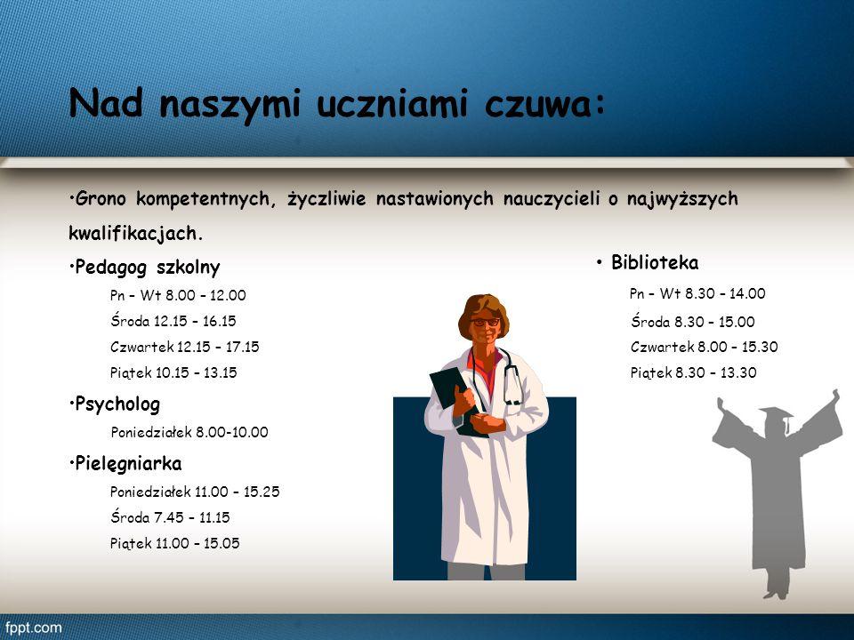 Nad naszymi uczniami czuwa: Grono kompetentnych, życzliwie nastawionych nauczycieli o najwyższych kwalifikacjach. Pedagog szkolny Pn – Wt 8.00 – 12.00